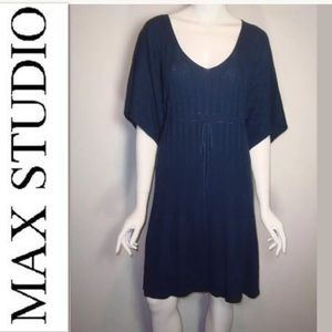 MAX STUDIO Small Navy Ribbed Belted Dress